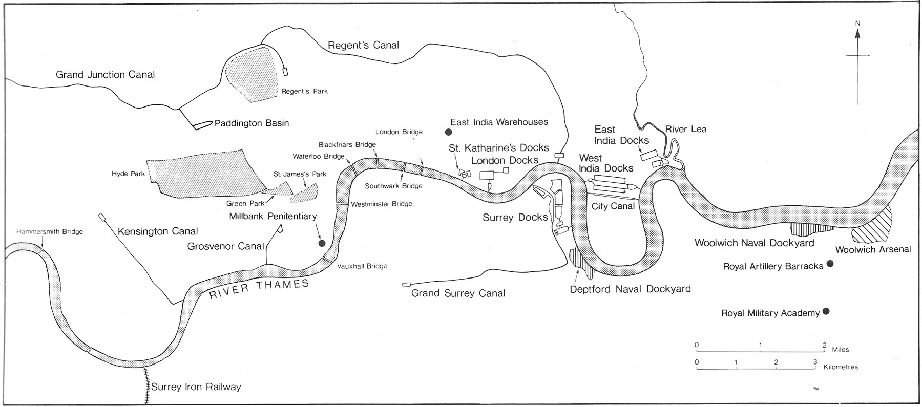 map of London and River Thames in 1830