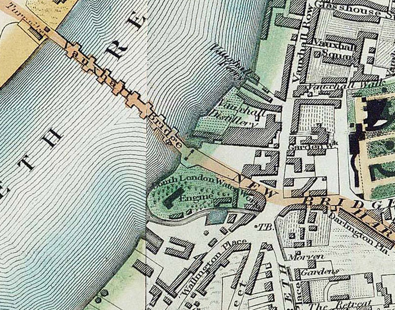 Map Of South London Waterworks In 1830