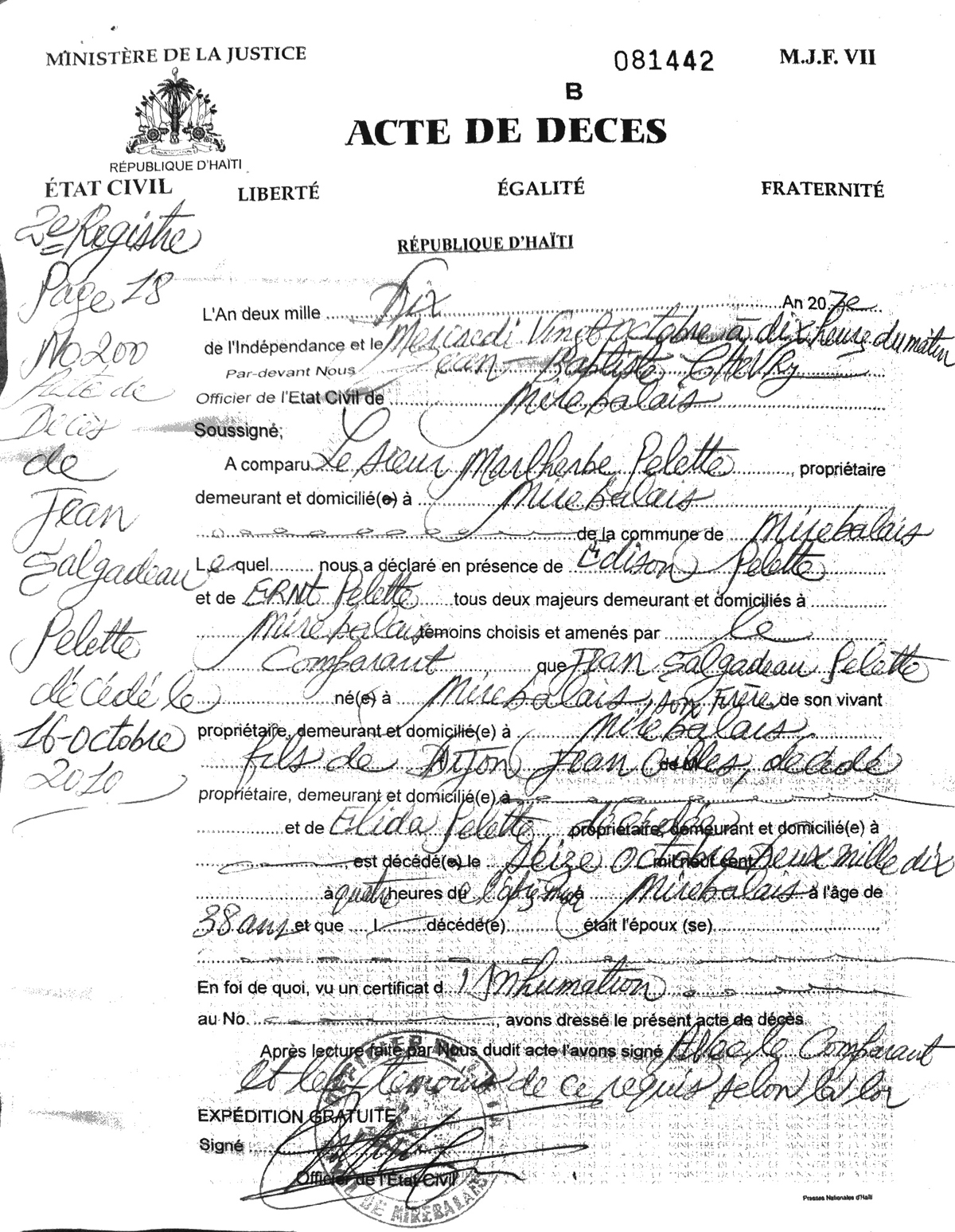 Death certificate pictures images and form of promissory note death certificate of jean salgadeau pelette deathcertificate jeansalgadeaupelette deathcertificate supposed first cholera haitihtml yelopaper Choice Image