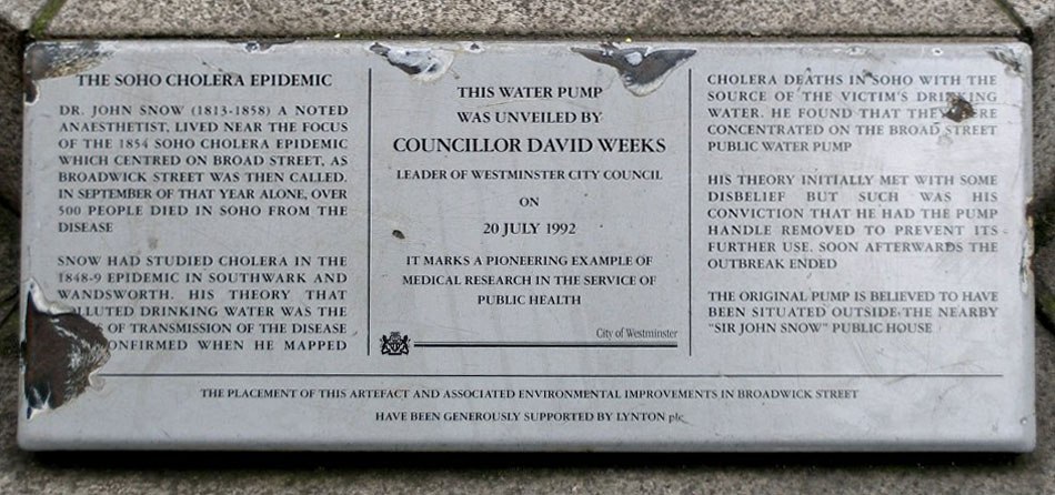 Plaque At Base Of Broad Street Pump
