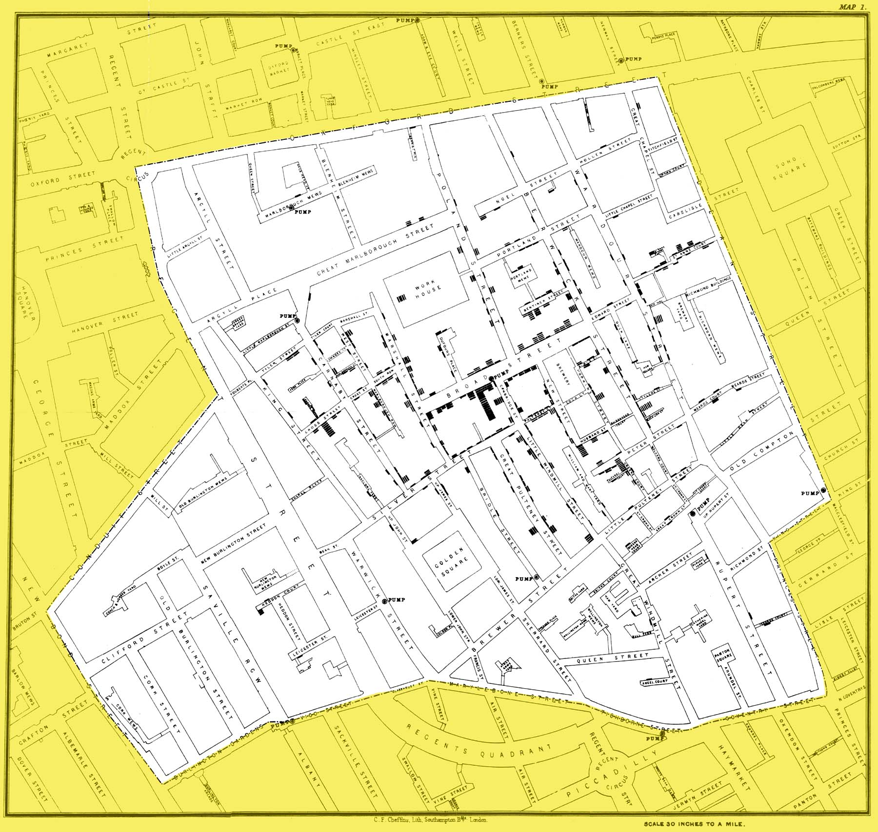 John Snow Cholera map (1854)