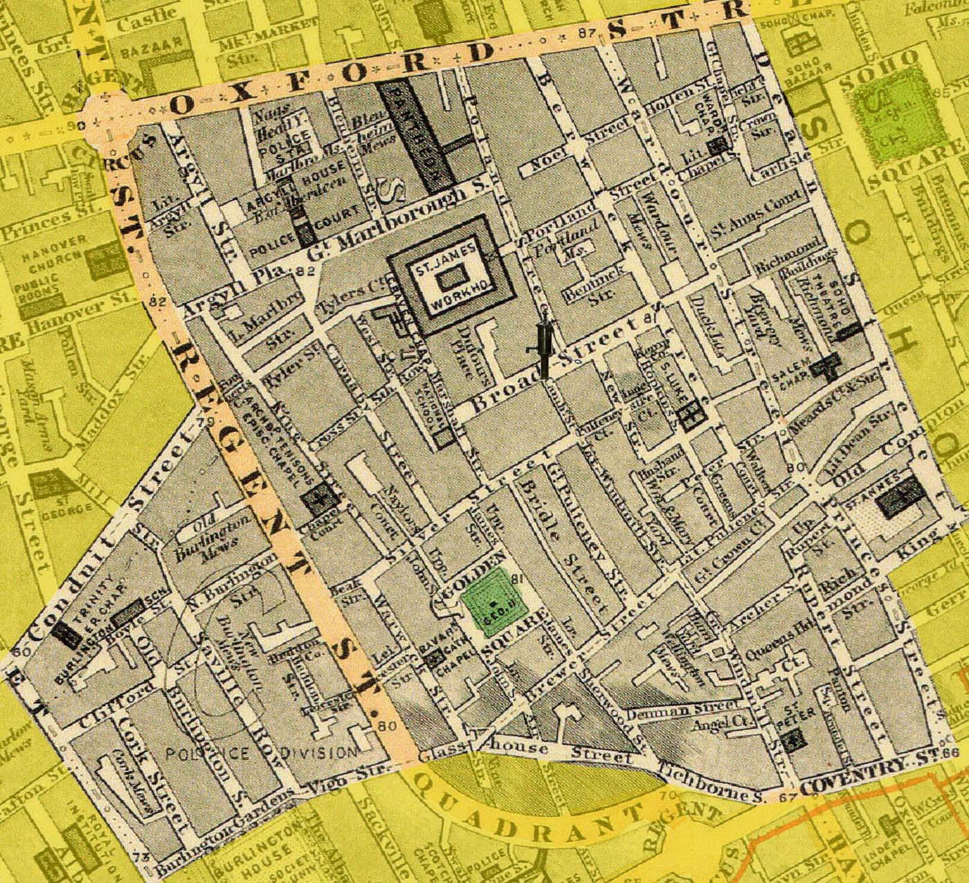 Map Of London And Surrounding Suburbs.John Snow S Map 1 Eight Years Later In 1862